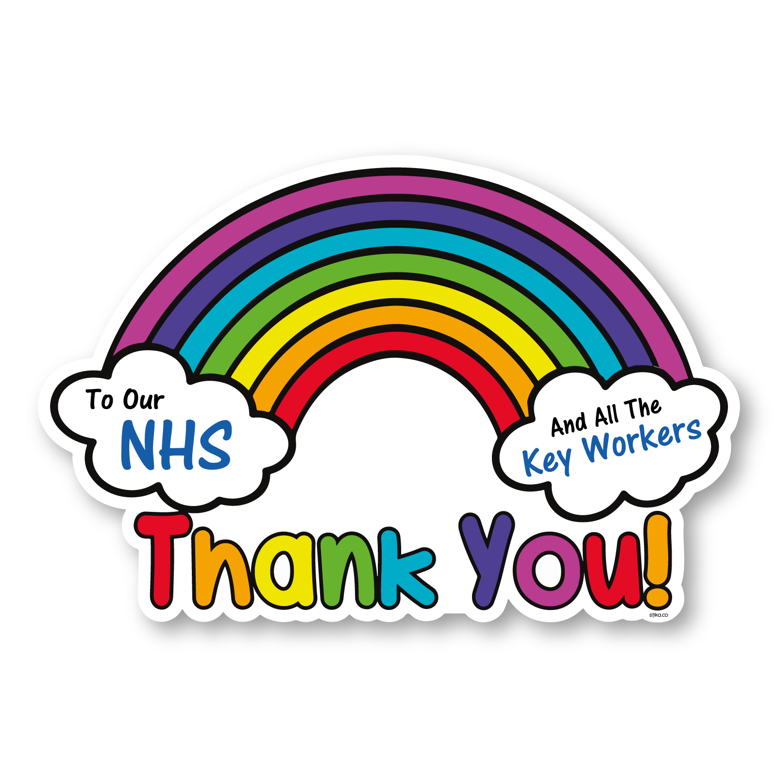 Thank you NHS and all the key workers Sticker, Self-adhesive vinyl ...